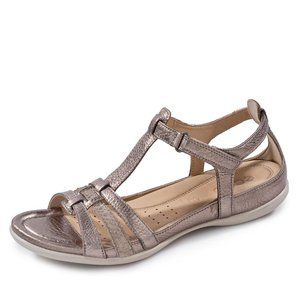 ECCO Womens Flash T Strap Sandals Bronze
